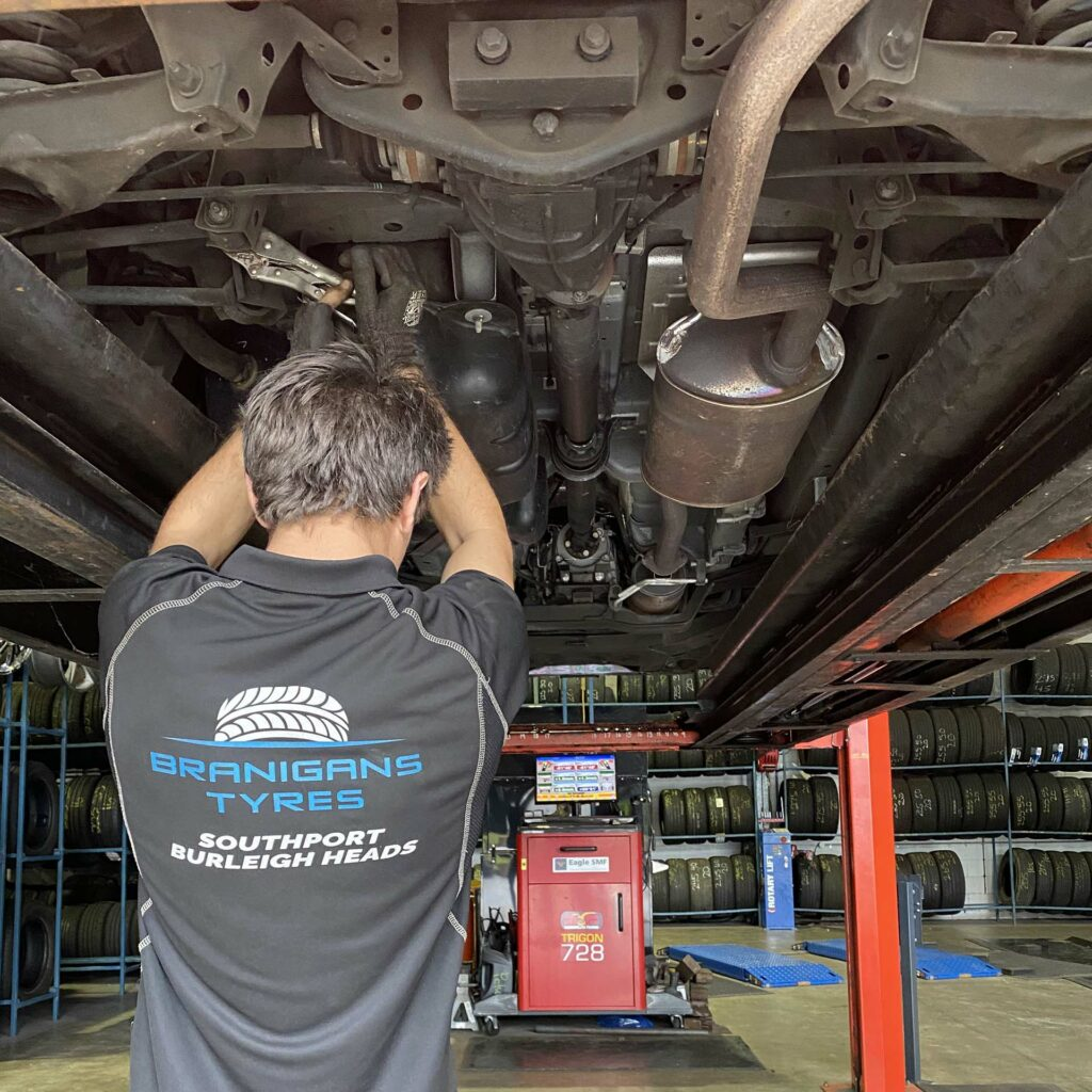 Wheel alignment being done at Branigans Burleigh Heads branch in the Gold Coast.