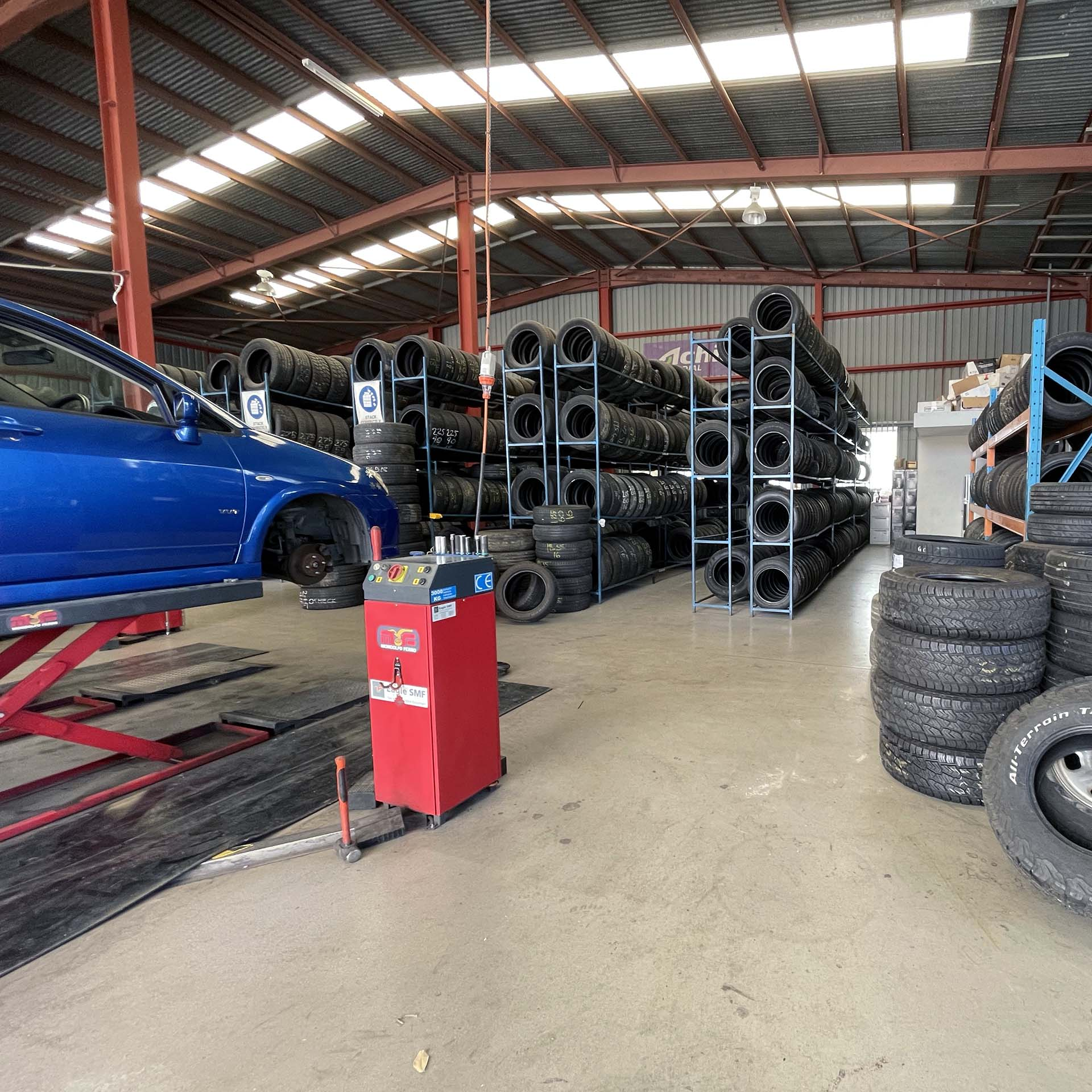Interrior of the Branigans Southport tyre shop in the Gold Coast.