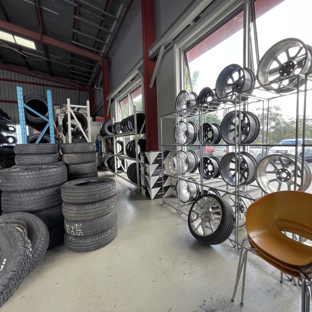 Shop window of Branigans Tyres in the Gold Coast.