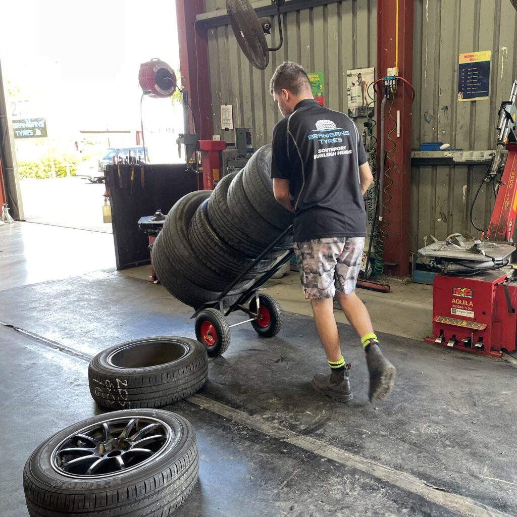 Moving tyres at the Branigans Southport branch in the Gold Coast.