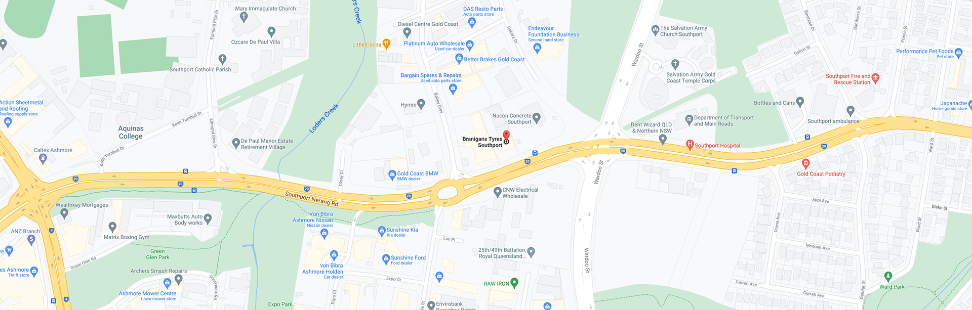 Map to the Branigans Southport tyre shop in the Gold Coast.